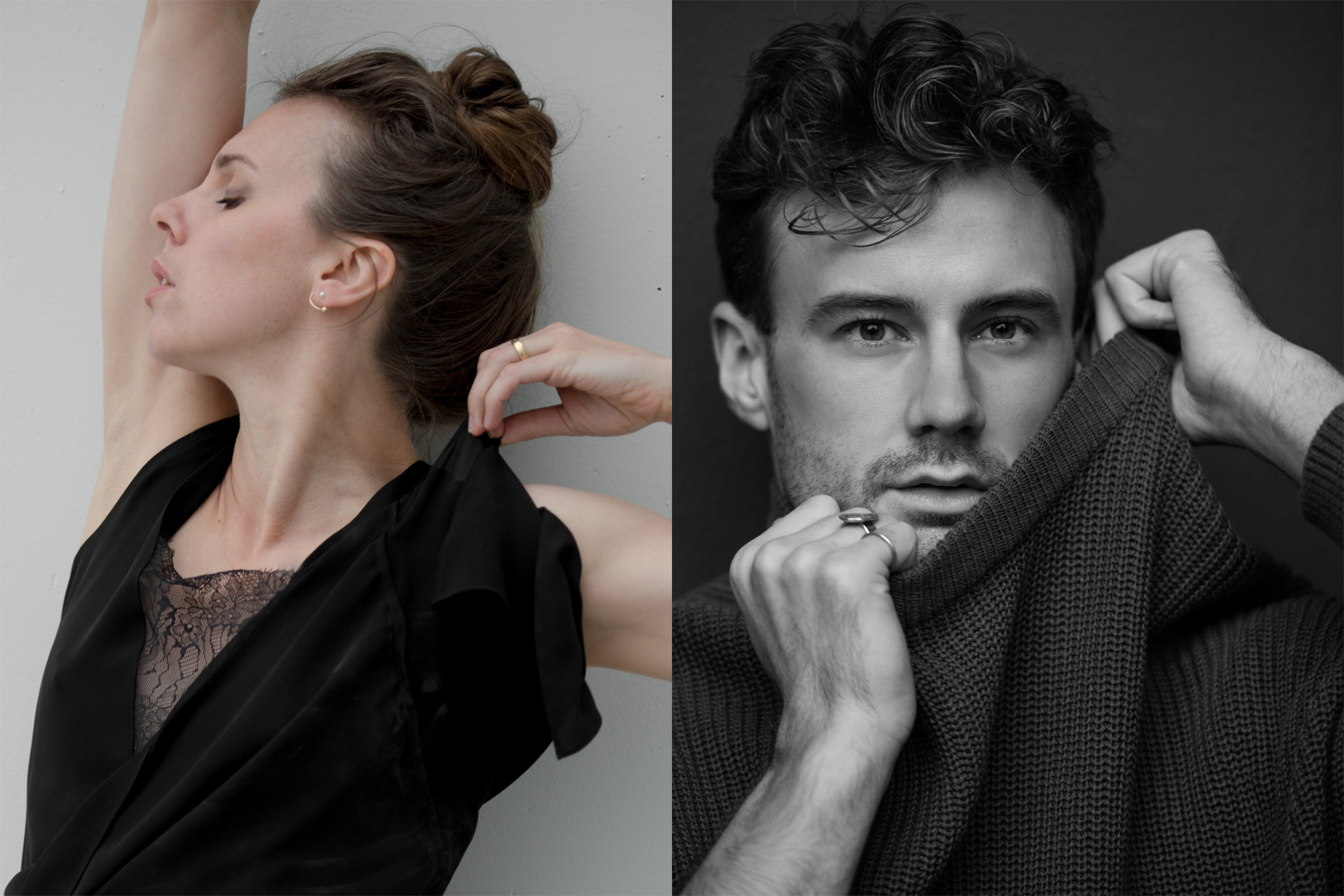 Ballet BC Artists in Residence Alexis Fletcher (colour headshot, left) and Peter Smida (greyscale headshot, right).
